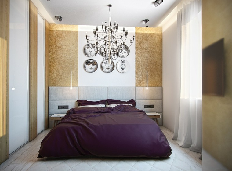 cama morada dormitorio fotos cabecero