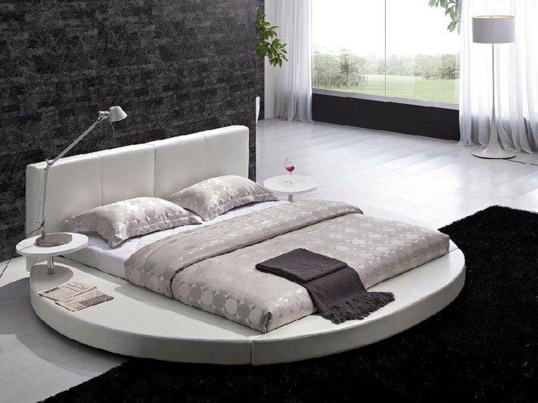 cama redonda moderna cabecero blanco estilo ideas