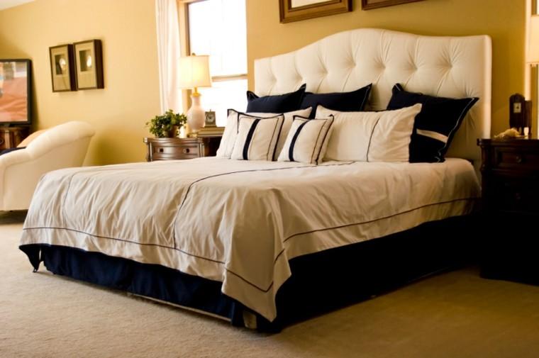 cama respaldo blanco elegante dormitorio ideas