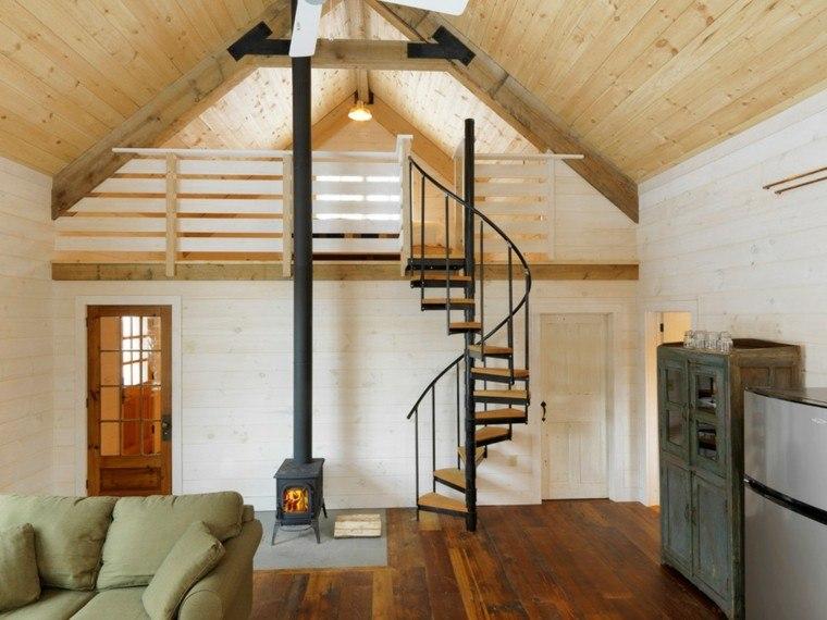 camas diseño escaleras salon madera