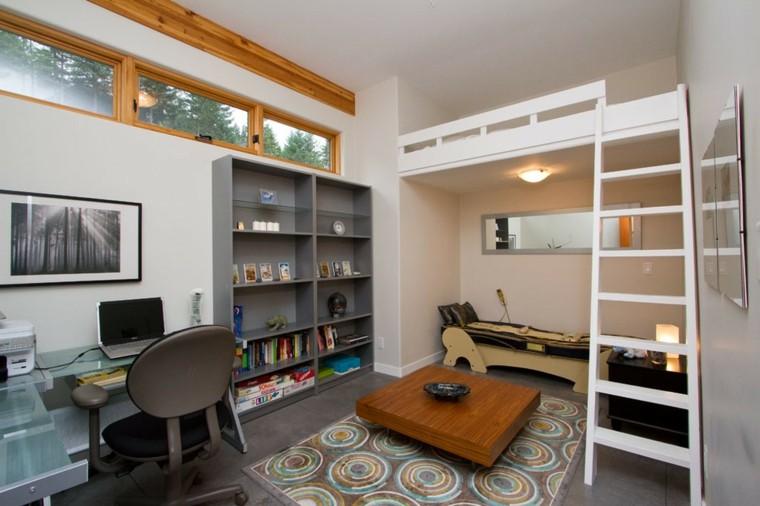 camas diseño escritorio estantes calido