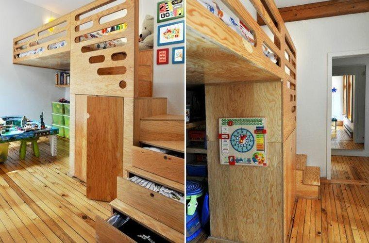 camas diseño niños madera almacenamiento