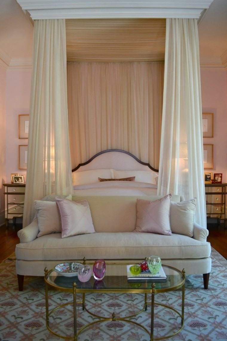 camas dosel cortinas blancas mosquiteras