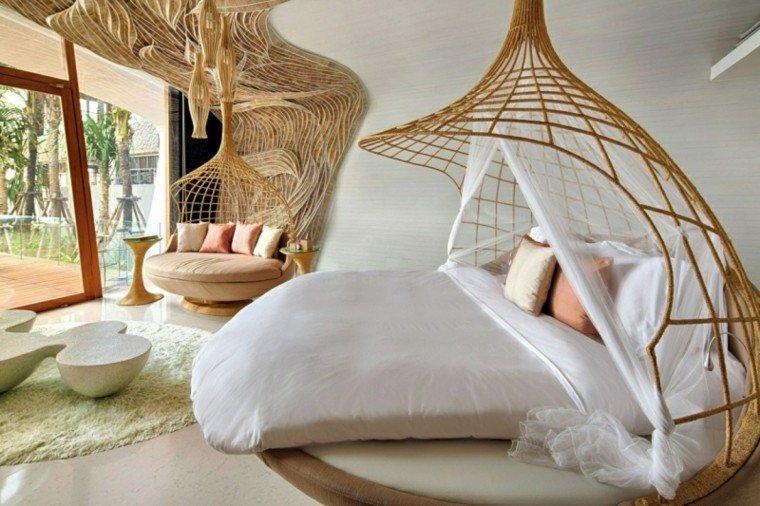 camas originales decoraciones techo forma redonda moderno