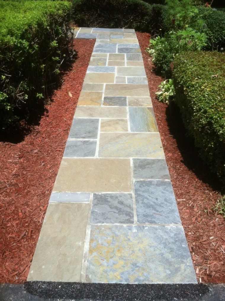 Camino de jard n ideas atractivas piedras losas y baldosas - Losas para jardin ...