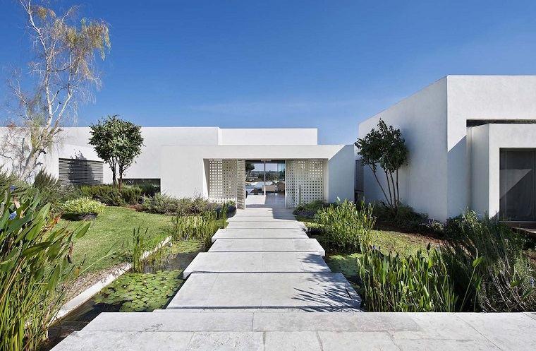 camino losas casa moderna estilo jardin