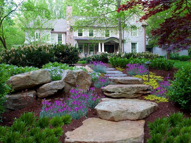 caminos piedras grandes escalera jardin casa ideas