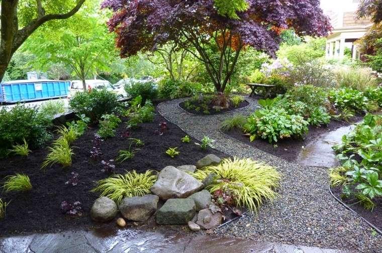 caminos piedras pequenas arboles plantas jardin ideas