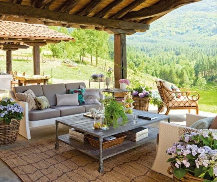 campestre mesas flores tejado montaña sofa