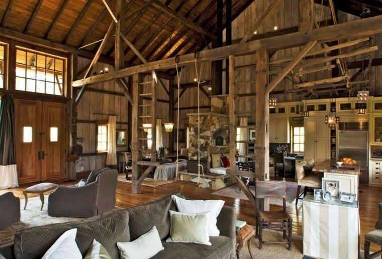 casa amplia estilo rustico columpio ideas