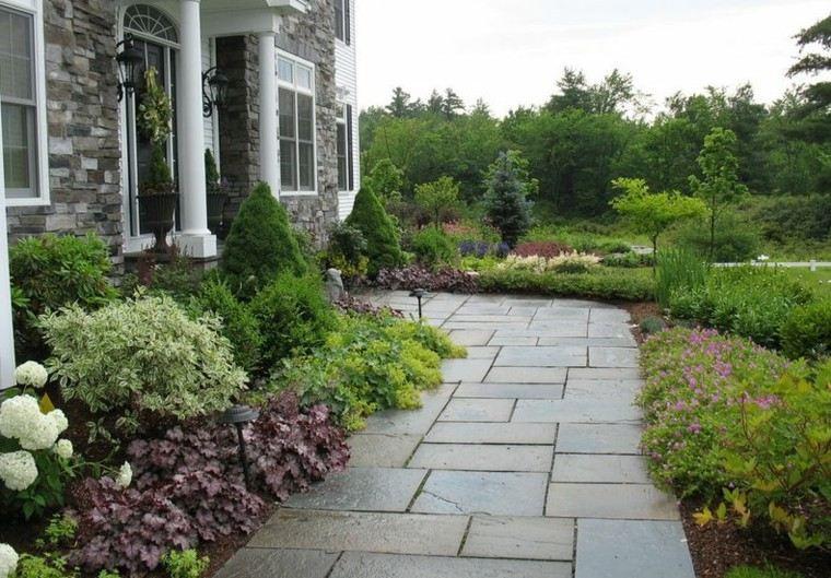 casa jardin delantero losas grandes ideas