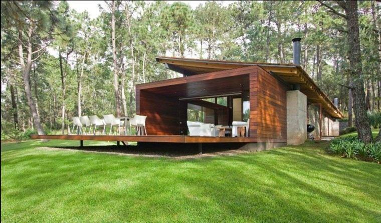 casa moderna plataforma madera teca