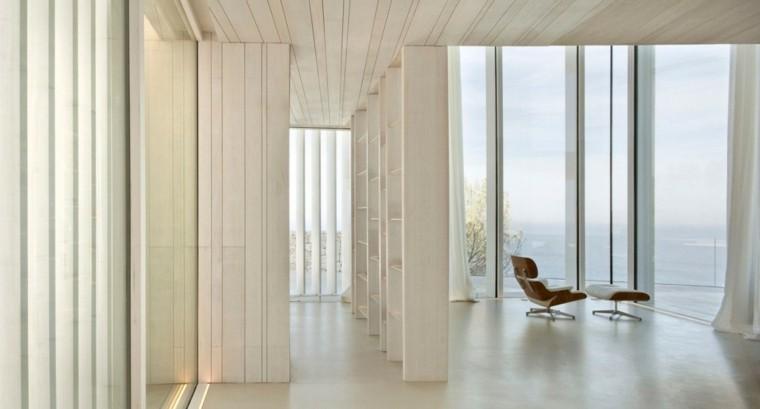 casas estilo minimalista sillon ventanales cortinas blancas modernas