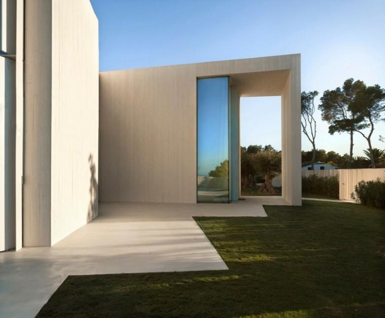 casas jardin suelo hormigon cesped arquitectura ideas