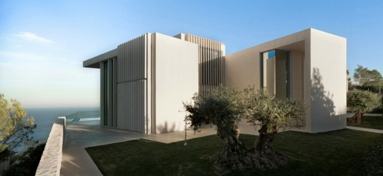 casas jardin trasero cesped arquitectura preciosa ideas