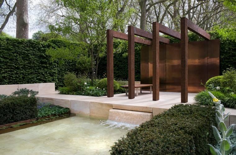cascada acero corten plantas diseño moderno
