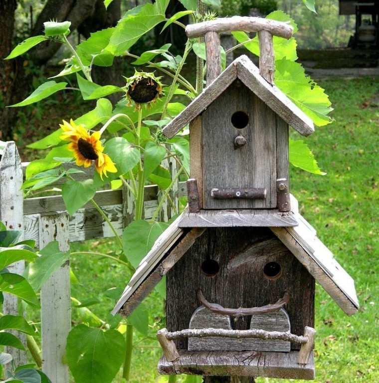 casita pajaros madera girasol amarillo