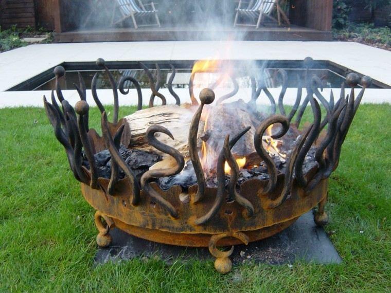 chimenea brasero candela metal jardin