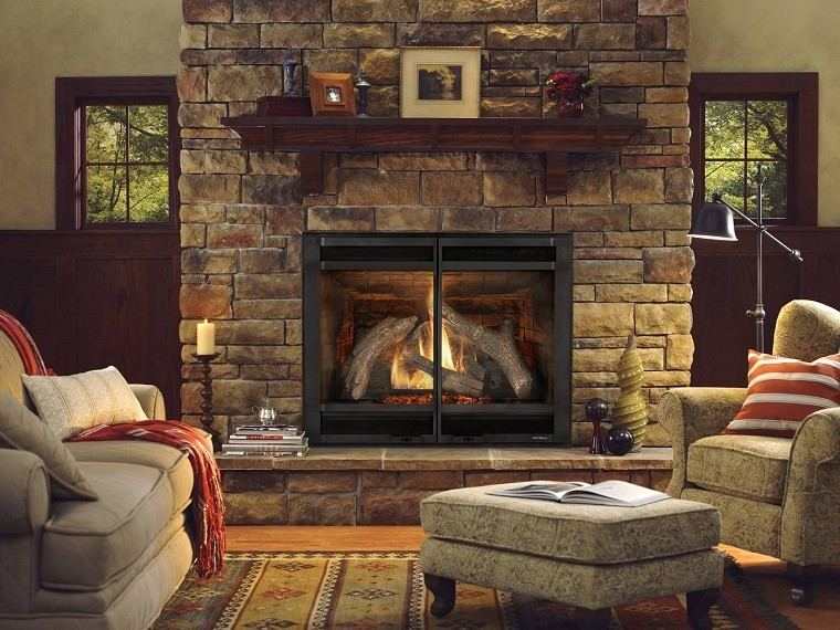 chimeneas gas pared piedra estilo rustico salon ideas