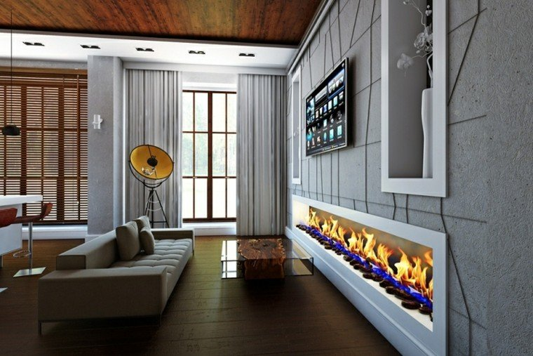 chimenea moderna alargada horizontal sala
