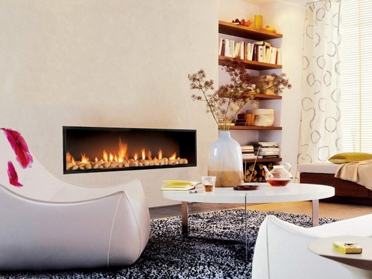 chimenea moderna salon blanco mesa cafe ideas