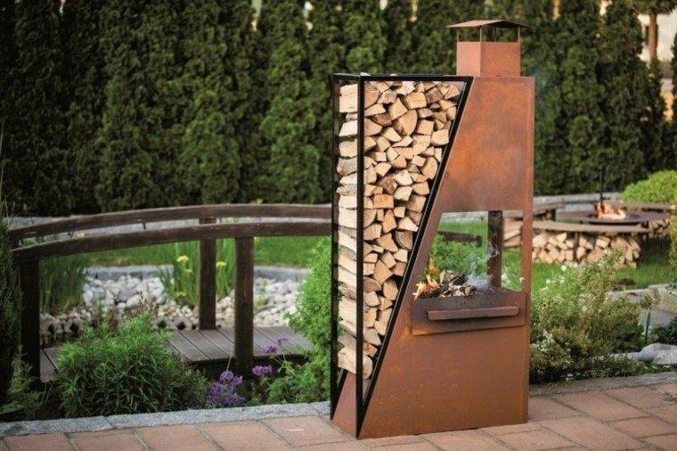 chimenea perfecta jardin lugar poner madera ideas