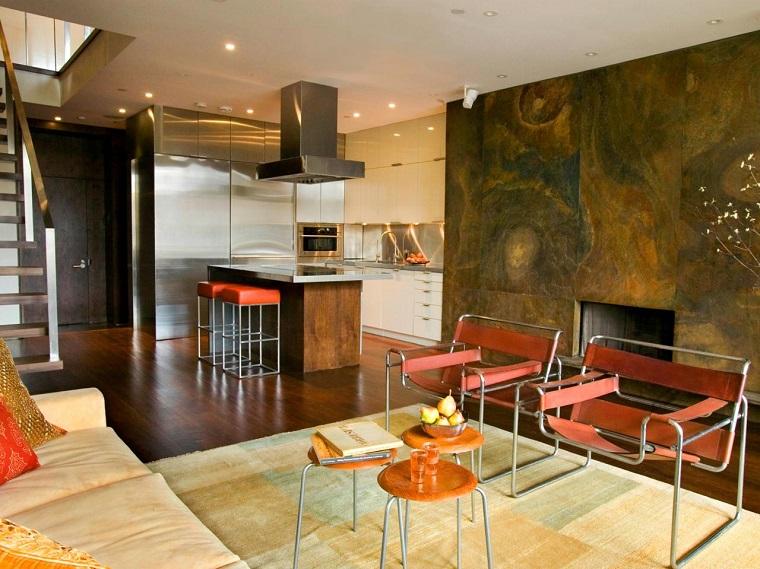 Chimenea en el sal n 25 ideas originales for Cocinas con chimenea