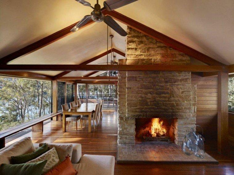 chimenea diseño salon suelo madera