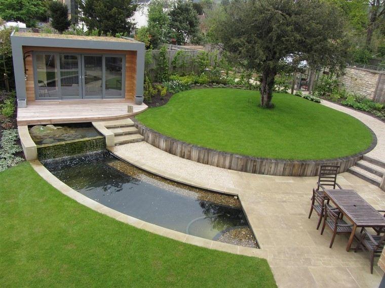 circular jardin mesa estanque muebles exterior
