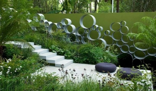 circulos decorativos metal pared jardin