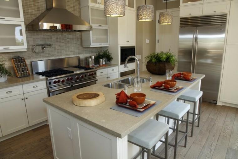 Cocinas blancas con muebles de madera muy modernas - Cocina suelo gris ...