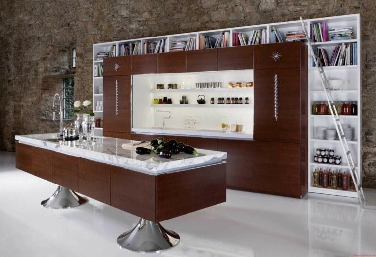 cocina biblioteca madera encimera marmol