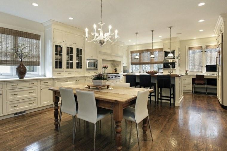 cocina blanca comedor muebles madera mesa preciosa moderna