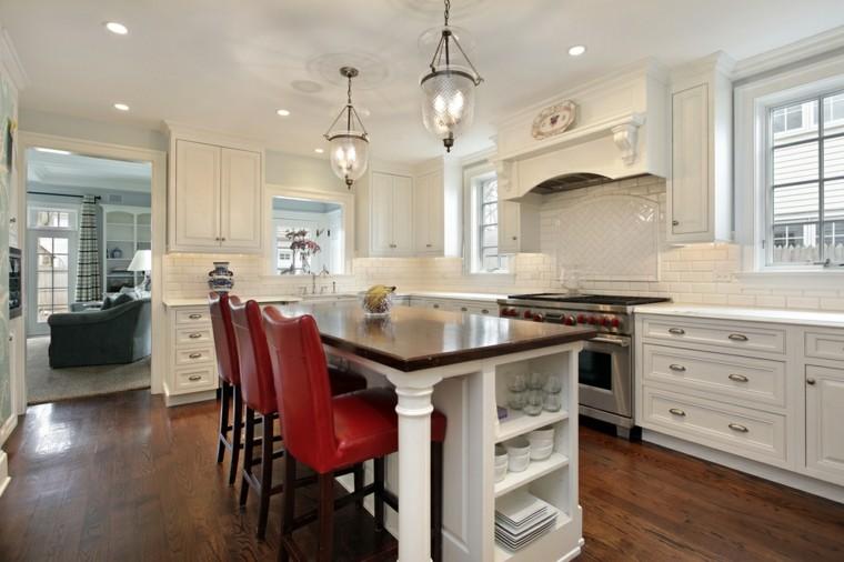cocina blanca sillas altas cuero rojo muebles madera moderna