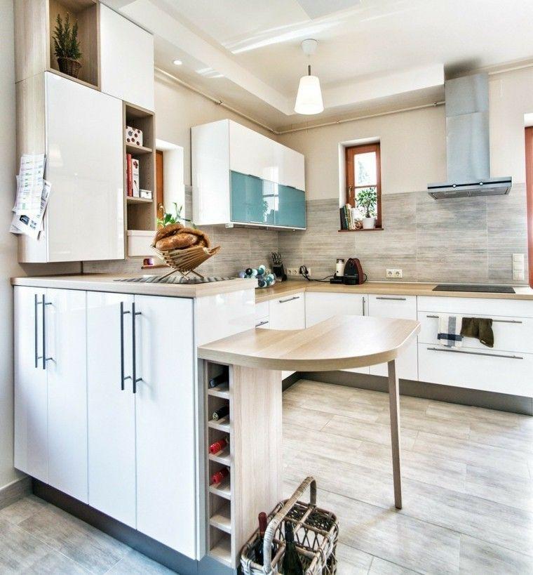 Blanco y madera cincuenta ideas para decorar tu cocina - Cocinas blancas y madera ...