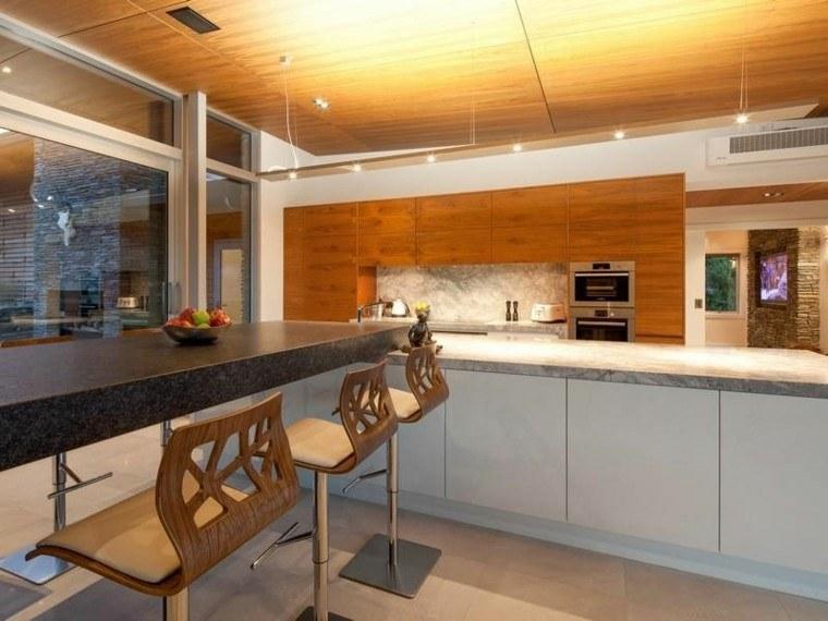 Techos de madera cincuenta ideas modernas for Pintar techo cocina