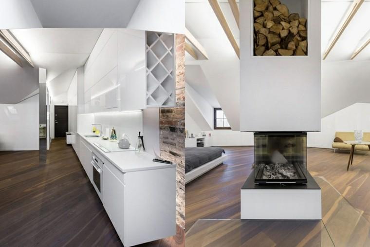 cocina dormitorio blanco chimenea suelo madera ideas