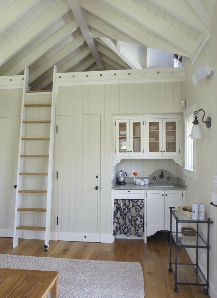 cocina escalera cama madera blanco