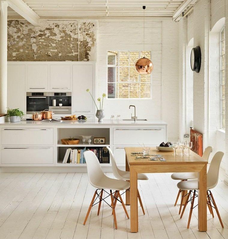 cocina estilo escandinavo blanca mesa madera sillas diseno moderna