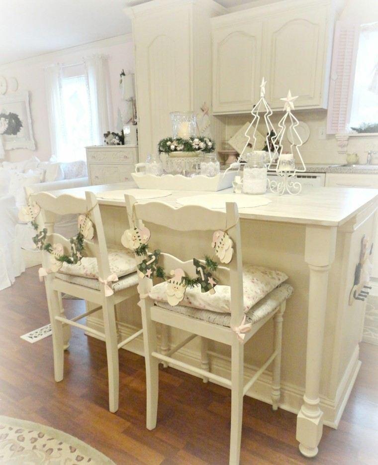 cocina estilo shabby chic isla sillas madera blanca ideas