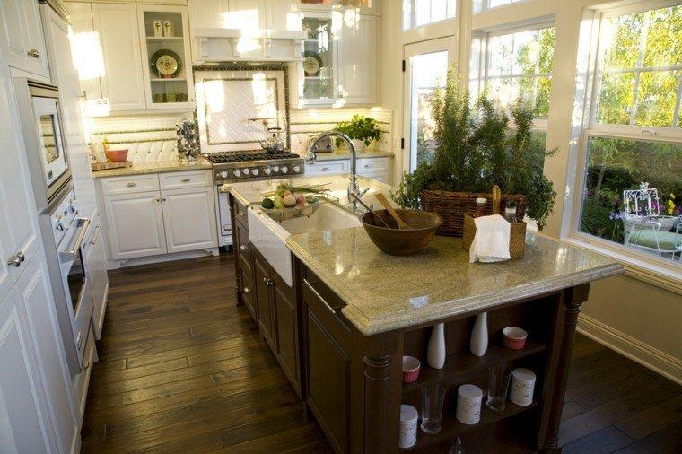Cocinas blancas con muebles de madera muy modernas - Muebles isla cocina ...