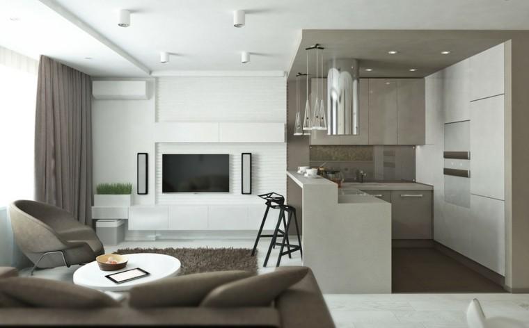 cocina estudios modernos lofts gris