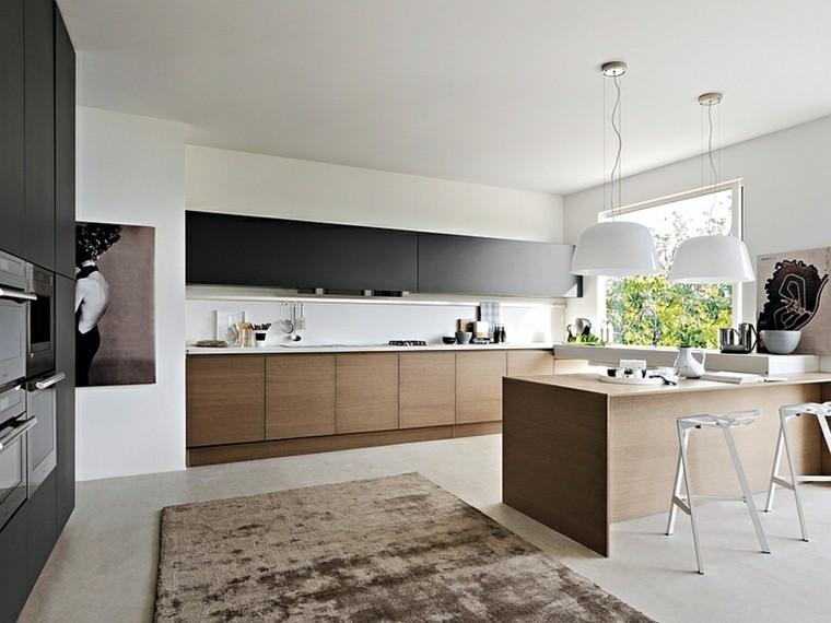 Blanco y madera cincuenta ideas para decorar tu cocina - Cocinas marrones ...