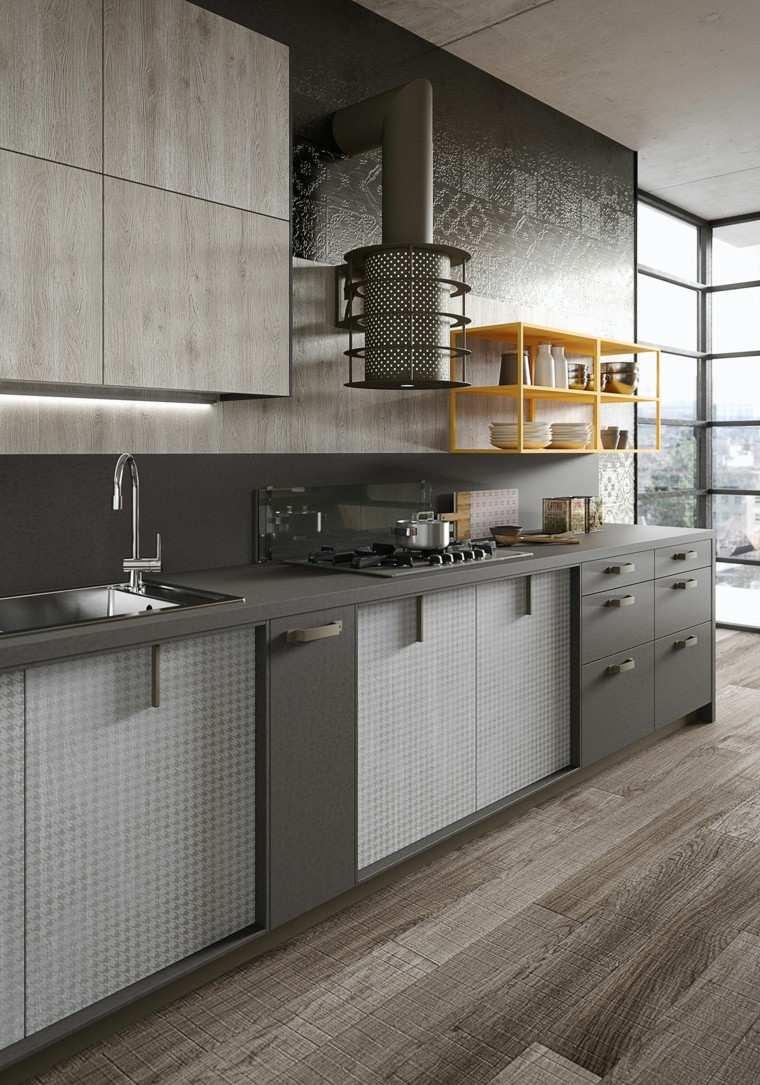 cocina color gris campana peltro