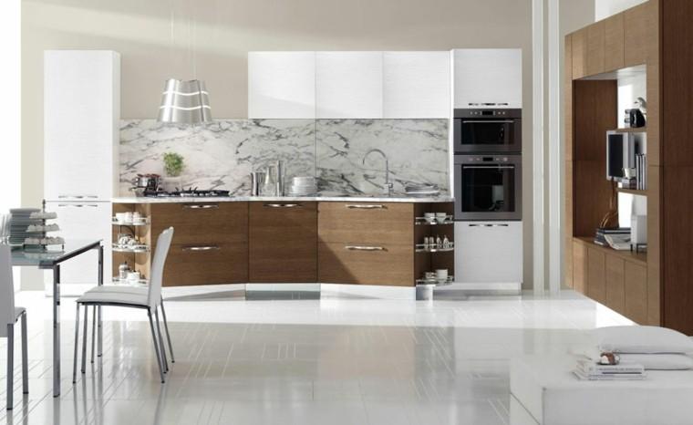 cocina iluminada moderna laminado madera