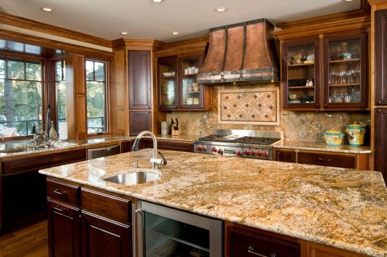 cocina isla encimeras pared marmol ideas modernas