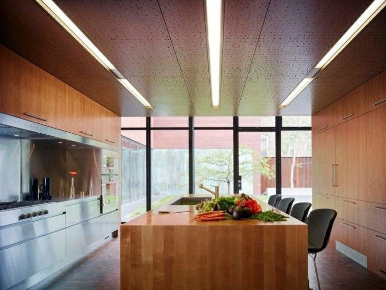 cocina isla grande ventanal moderna ideas