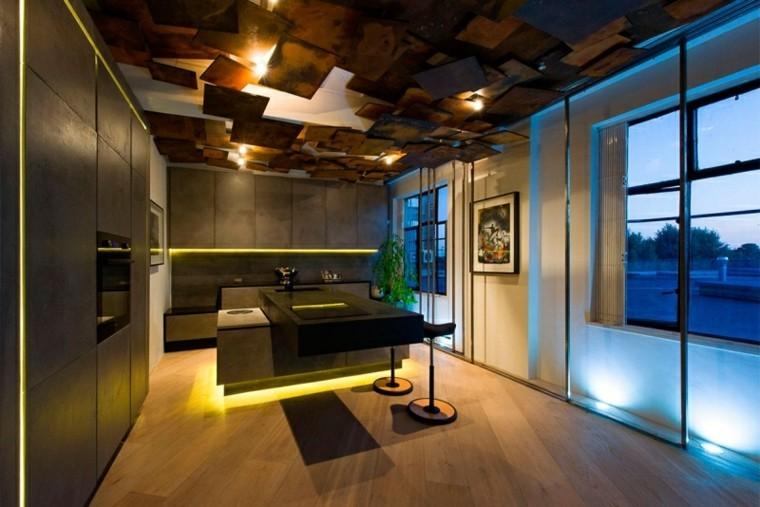 cocina isla iluminacion LED bordes abajo ideas