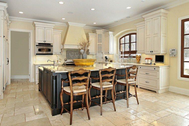 cocina isla madera negra muebles blancos paredes beige moderna