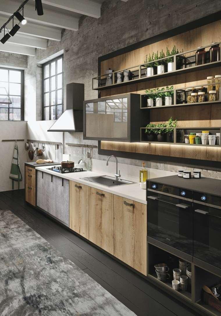 cocina madera cemento hormigon plantas